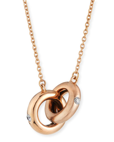 18k Pink Gold Diamond Two-Ring Necklace
