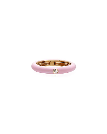 Adolfo Courrier Never Ending 18k Pink Gold Diamond & Pink Ring, Size 6-8