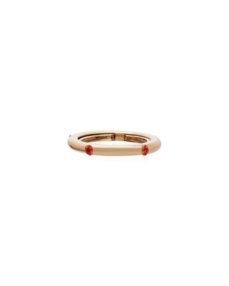 Adolfo Courrier Never Ending 18k Pink Gold Orange Sapphire Ring, Size 6-8
