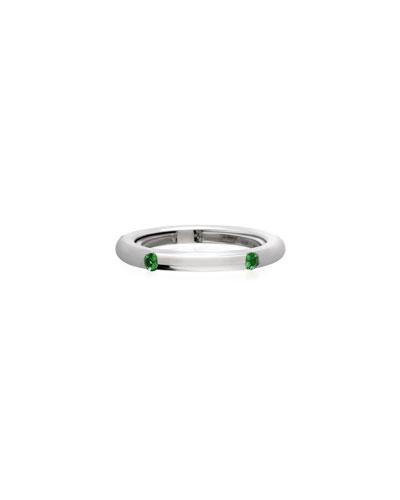 Never Ending 18k White Gold Tsavorite Ring, Size 6-8