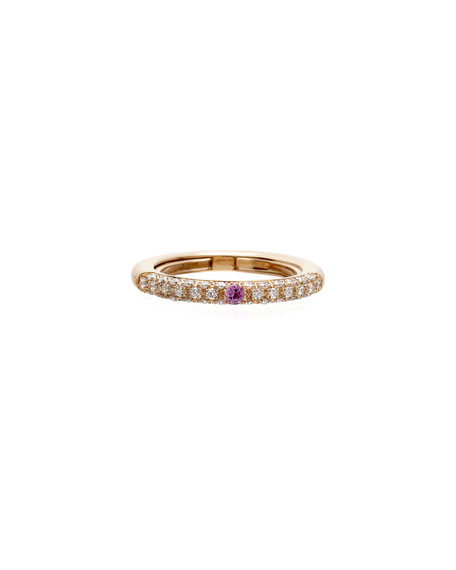 Adolfo Courrier Never Ending 18k Pink Gold Diamond & Pink Sapphire Ring, Adjustable Sizes 6-8