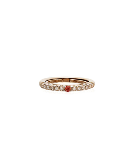 Adolfo Courrier Never Ending 18k Pink Gold Diamond & Orange Sapphire Ring, Adjustable Sizes 6-8