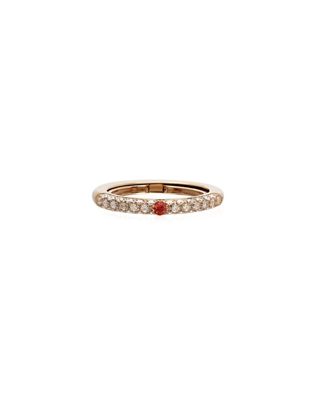Never Ending 18k Pink Gold Diamond & Orange Sapphire Ring
