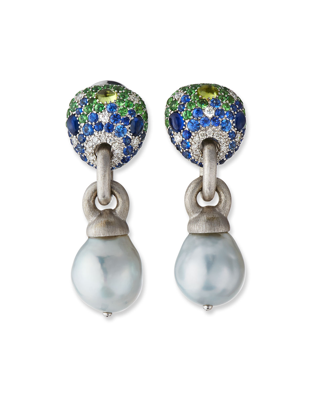 18k White Gold Multi-Stone & Baroque Pearl Earrings