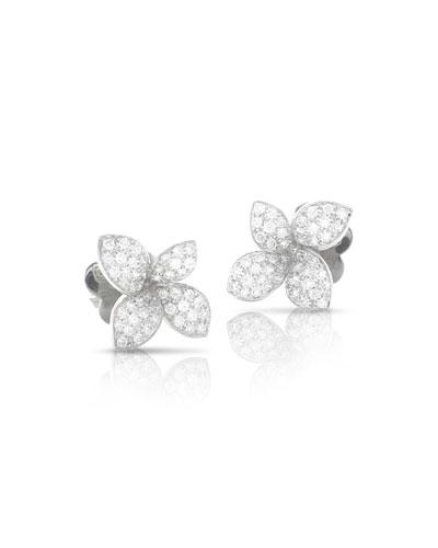 Giardini Segreti 18k White Gold Diamond Flower Stud Earrings