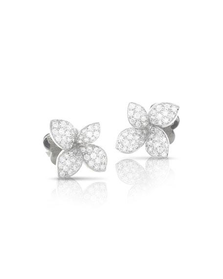 Pasquale Bruni Giardini Segreti 18k White Gold Diamond Flower Stud Earrings