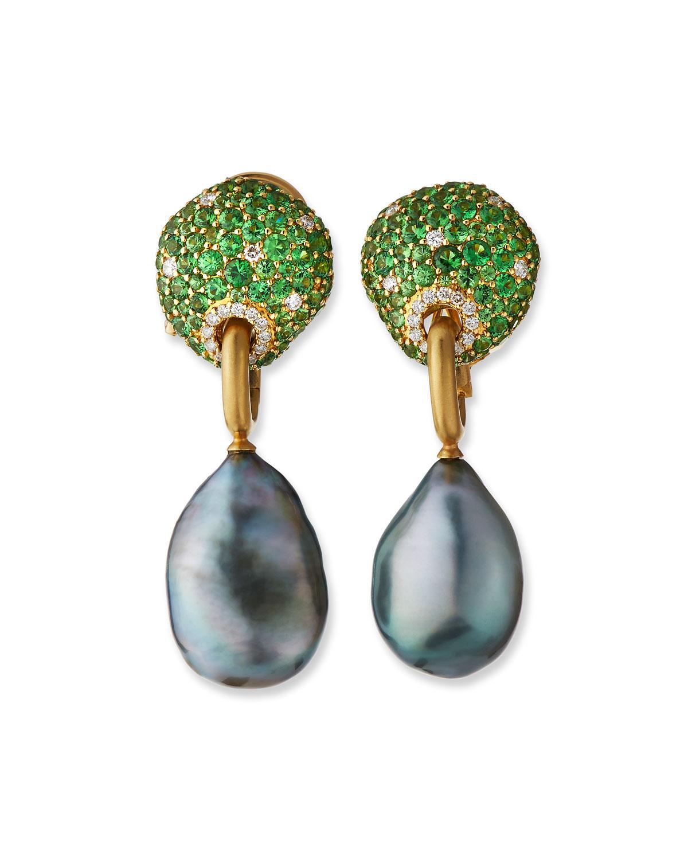18k Tsavorite & Diamond Earrings w/ Detachable Pearls