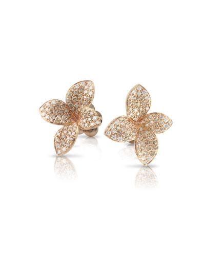 Giardini Segreti 18k Rose Gold Diamond Flower Stud Earrings