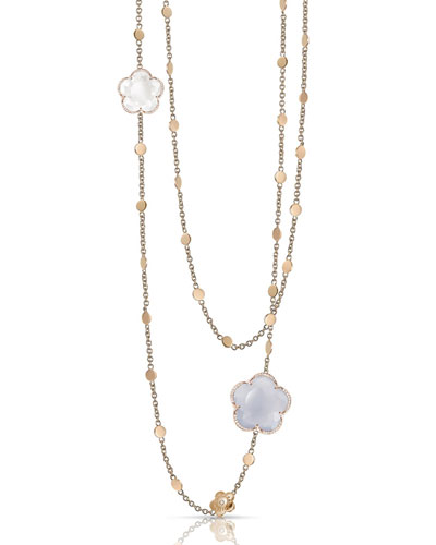Bon Ton 18k Rose Gold Chalcedony & Quartz Necklace