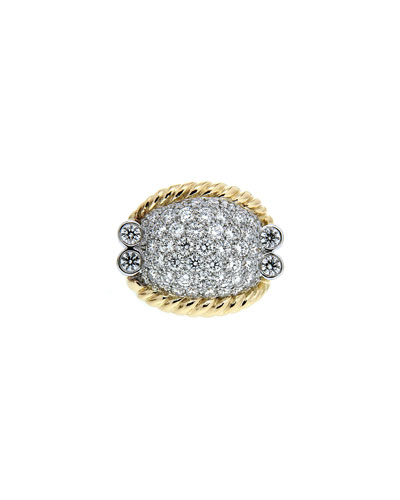 Triple-Rope Diamond Pave Ring, Two-Tone