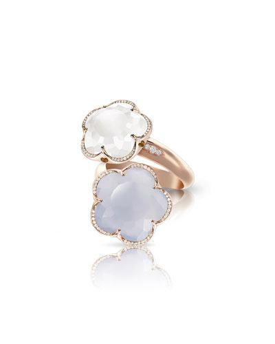 Bon Ton 18k Rose Gold Chalcedony & Quartz Ring, Size 7