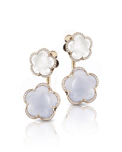 Bon Ton 18k Rose Gold Chalcedony & Quartz Earrings