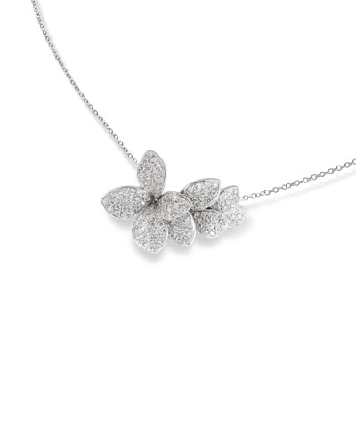 Giardini Segreti 18k White Gold Short Diamond Pendant Necklace