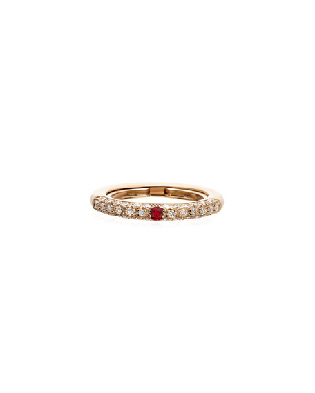 Adolfo Courrier Never Ending 18k Pink Gold Diamond & Ruby Ring, Adjustable Sizes 6-8