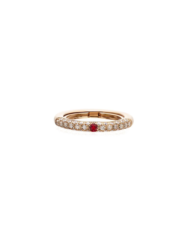 Never Ending 18k Pink Gold Diamond & Ruby Ring
