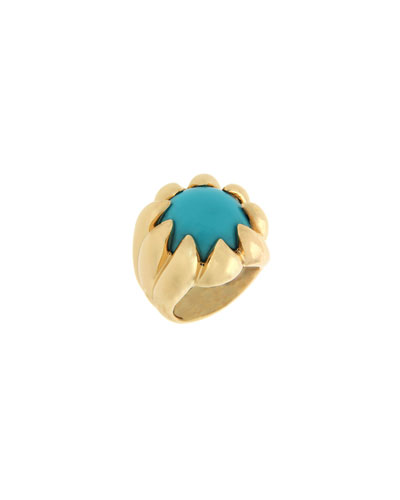 18k Claw Dome Turquoise Ring