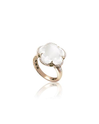 Bon Ton 18k Rose Gold Quartz Ring w/ Diamonds, Size 6.25