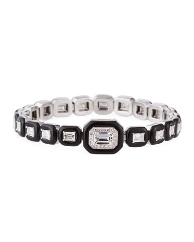 18k White Gold Oui Diamond & Black Enamel Bracelet