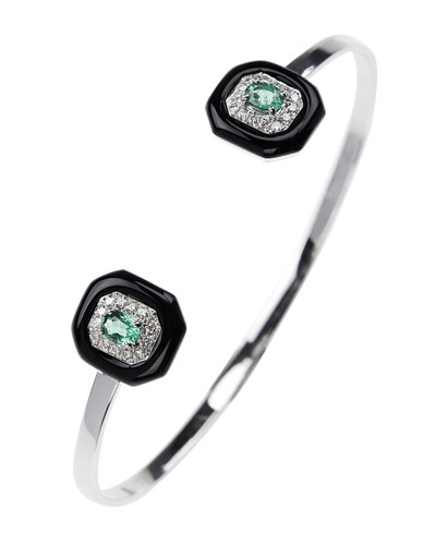 Oui 18k White Gold Diamond, Emerald & Black Enamel Split Bracelet, 0.25tcw