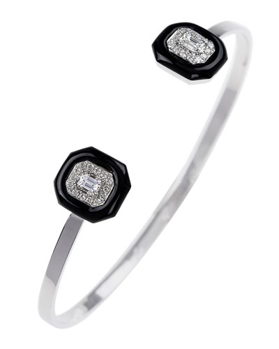 18k White Gold Diamond & Black Enamel Split Bracelet, 0.51tcw