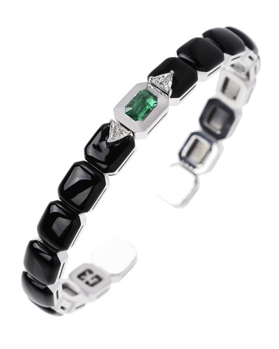 18k White Gold Split Diamond, Emerald & Black Enamel Bracelet