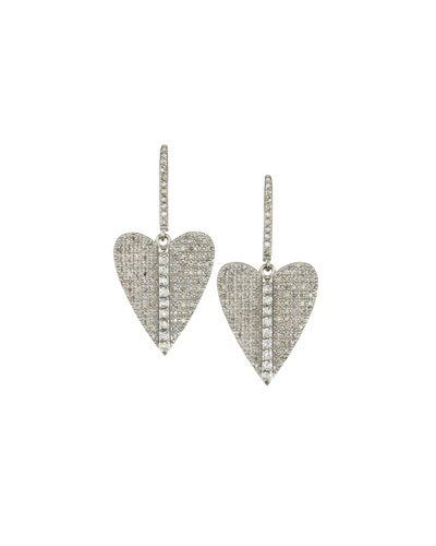 Pave Diamond Folded Heart Earrings