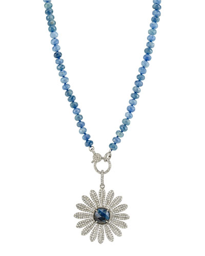 Aquamarine & Pave Diamond Daisy Necklace
