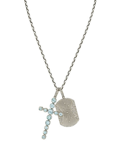 Aquamarine Cross & Seeing Eye Dog Tag Necklace. 42