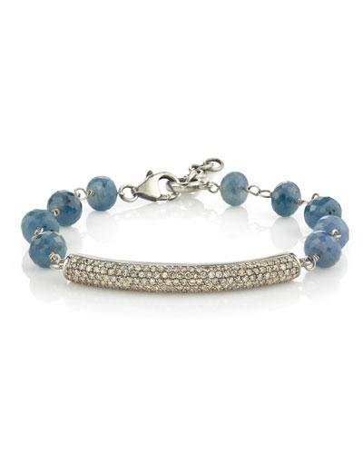 Wire Wrap Sapphire Bracelet w/ Pave Diamond Bar
