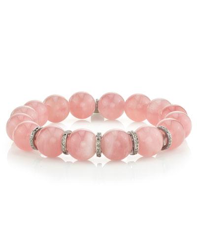 10mm Rose Quartz & Diamond Rondelle Bracelet