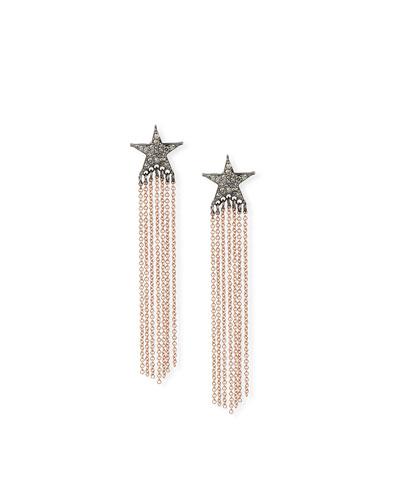 14k Rose Gold Diamond Star & Chain Earrings