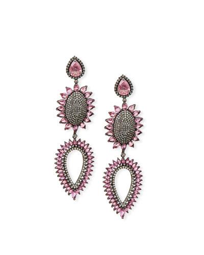 Pink Tourmaline & Diamond Flower Earrings