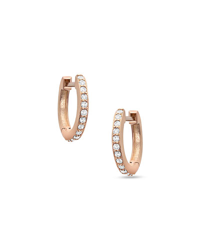 18K Rose Gold & White Diamond Huggie Hoop Earrings