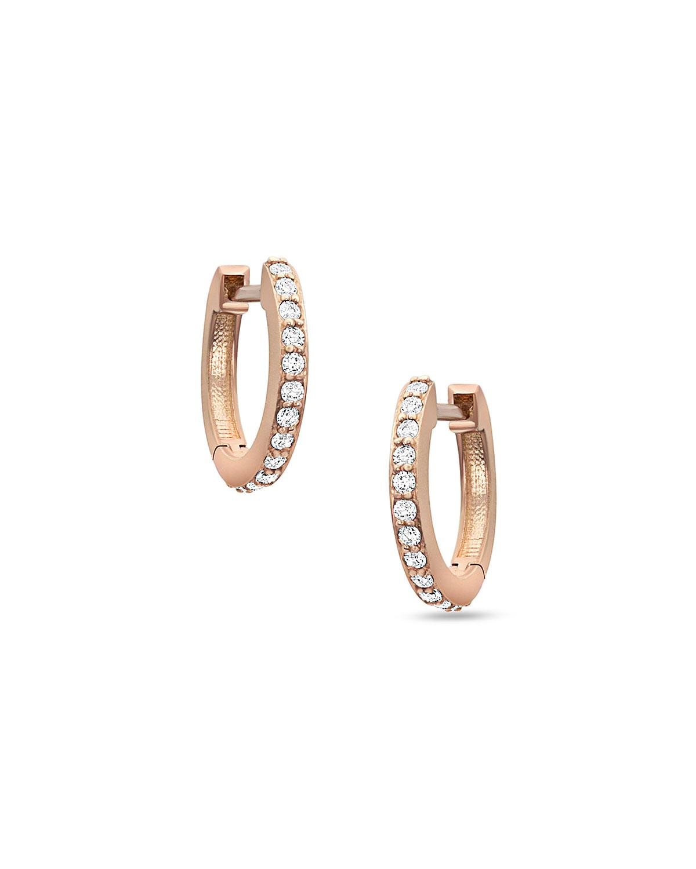 18k Rose Gold Diamond Huggie Hoop Earring