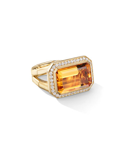 Novella 18k Gold 16mm Citrine Ring w/ Diamonds, Size 7