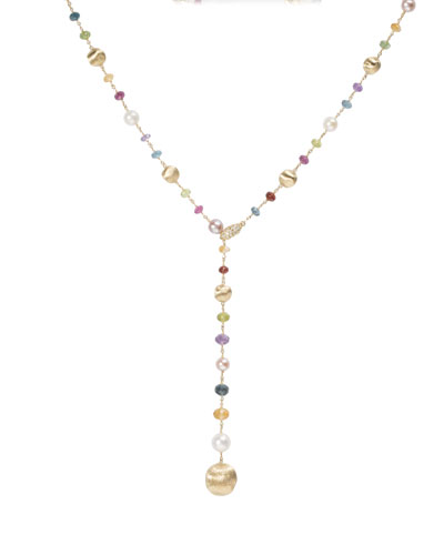 Africa 18k Mixed-Gemstone Lariat Necklace w/ Pearls