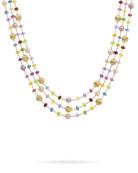 Marco Bicego Africa 18k Mixed-Gemstone 3-Row Necklace w/