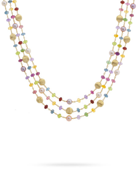 Marco Bicego Africa 18k Mixed-Gemstone 3-Row Necklace w/ Pearls