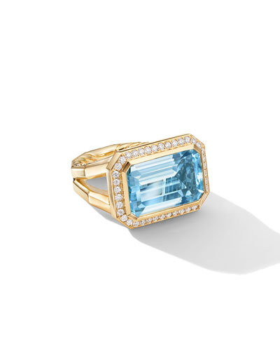 Novella 18k Gold 16mm Blue Topaz Ring w/ Diamonds, Size 9