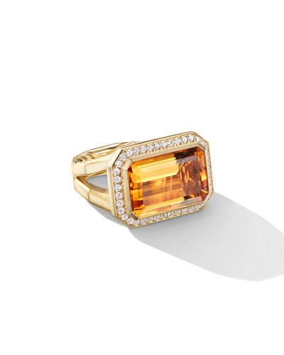 Novella 18k Gold 16mm Citrine Ring w/ Diamonds, Size 6