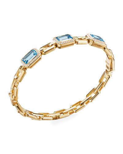 Novella 3-Stone Bracelet w/ Diamonds, Blue Topaz, Size S