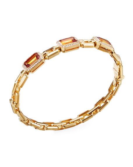 David Yurman Novella 3-Stone Bracelet w/ Diamonds, Citrine, Size L