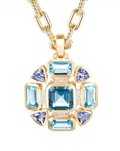 Novella Mosaic Topaz & Tanzanite Pendant w/ Diamonds