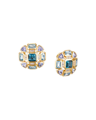 Novella Mosaic Topaz & Tanzanite Earrings w/ Diamonds