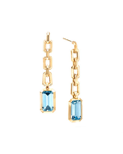 Novella 18k Chain Drop Earrings w/ Blue Topaz