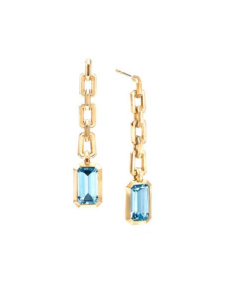 David Yurman Novella 18k Chain Drop Earrings w/ Blue Topaz