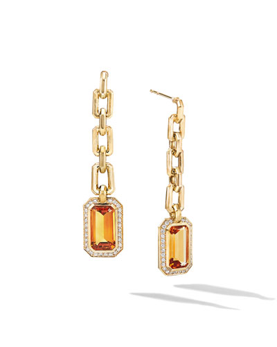 Novella 18k Gold Citrine Drop Earrings w/ Diamonds