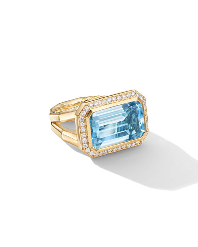 Novella 18k Gold 16mm Blue Topaz Ring w/ Diamonds, Size 7