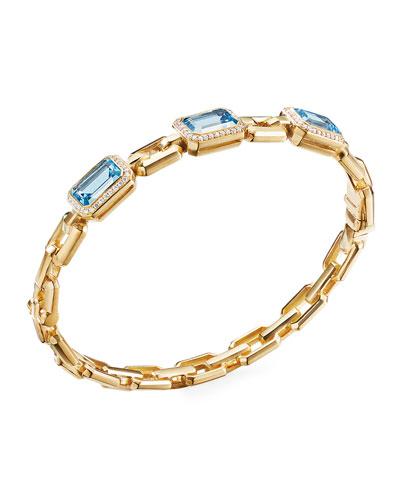 Novella 3-Stone Bracelet w/ Diamonds, Blue Topaz, Size L