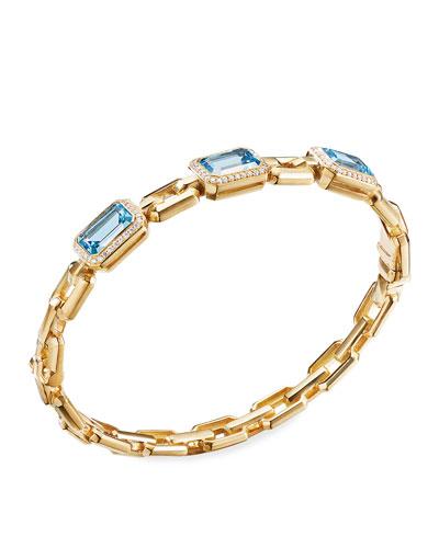 Novella 3-Stone Bracelet w/ Diamonds, Blue Topaz, Size M